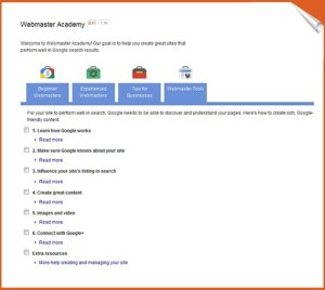 google webmaster academy features
