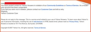 Yahoo answer suspension message